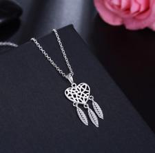 Collier Femme Pendentif Coeur Attrape-Rêves en Plaqué Argent - Bijoux des Lys