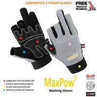 New Carpenters 3 Half Fingers Carpenter GLOVES Finger Cut Woodwork Works Safety