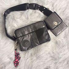 Silver Kipling FERGIE Pink Lips Monkey Key Chain Fanny Pack Purse Silver Hip Bag