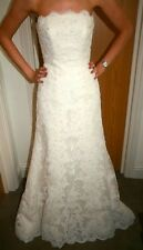 Pronovias Wedding Gown Sz10 Style 176 Strapless/Sleeveless, Lace, A-Line, White