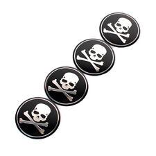 4Pieces Car Wheel Hub Center Cover Cross Bone Skull Logo Decal Sticker Accessory