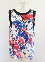 NWT Vince Camuto Abstract Floral Tank Top Blouse Size L Red White Blue Black