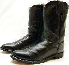 WOMENS JUSTIN 3703 BLACK LEATHER ROPER COWBOY WESTERN BOOTS SZ 6.5~1/2 B