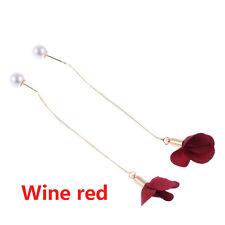 Chain Jewelry Tassel Flower Pendant Long Earrings Pearl Wine Red