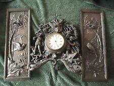 Antique German clock set with 2 plaques