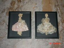 Vintage Pair Of Professionally Framed Hand Made Paper Doll Art Ribbon Ladies