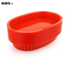 12pcs 10.5'' Fast Food Platter Basket Plastic Dinner Plates Tray Restaurant