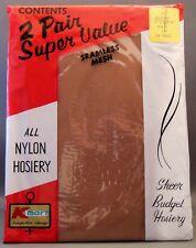 Vtg All Nylon Hosiery Seamless Sheer Mesh Kmart Budget 2 Pair Super Value Sz 10