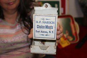 Vintage c.1910 H.F. Harsch Choice Meats Butcher Shop Metal Match Holder Safe