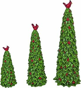 Set of 3 Sculpted Resin Holly Christmas Trees with Red Cardinals and Berries,...