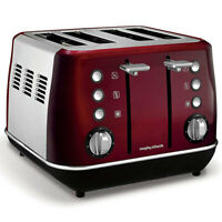 Morphy Richards 1880W Evoke Stainless Steel 4 Slice Toaster w Removable Tray Red