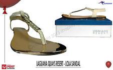 Laguna Quays Resort Lola T-Bar Sandal Beige & metal Bronze 4 Sizes Luxury BNIB