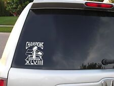 "2014 SUPERBOWL 48 CHAMPION SEATTLE SEAHAWKS 4"" X 6"" WHITE VINYL DECAL STICKER"