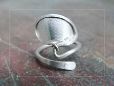 Ring, Silber 925 Sterlingsilber, Gr. 52-60, eleg. Blattform, Unikat Handarbeit