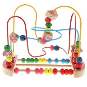 Wooden Candy Around Bead Wire Maze Developmental Baby Kid Educational Toys