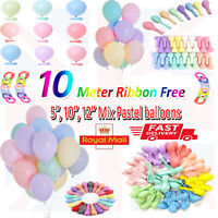"""Pack of 100 Pastel Latex Balloons Macaron Candy Many Colour Party 5''/10""""/12"""""""