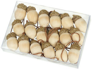 Christmas Set 18 Mini Wooden Acorns With Glitter Tops Tree Decorations
