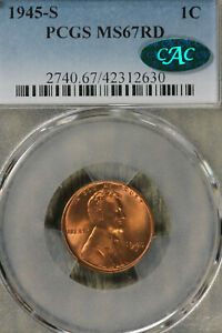 Beautiful GEM++ 1945-S Lincoln Wheat Cent -  PCGS MS67RD CAC!