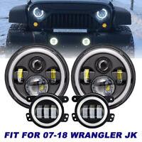 For 2007-2018 Jeep Wrangler JK Halo LED Headlight + Halo LED Fog Light Combo Kit