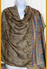 Pashmina Silk blend paisley elephant grayish gold tone Shawl, Stole, Wrap India!