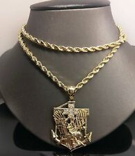 "Real 10k Yellow Gold American Eagle Anchor Charm 30"" Rope Chain"