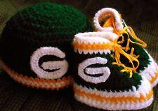 Custom Handmade Crochet Green Bay Packers Football High Top Booties & Baby Hat
