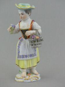 ⚔ Meissen Figur 60347 Mädchen mit Blumenkorb + Blumenstrauß Gärtnerkind 1.Wahl