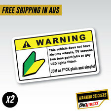 WARNING JDM x2 JDM CAR STICKER DECAL Drift Turbo Euro Fast Vinyl #0607