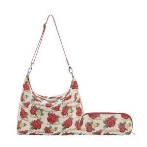 TAPESTRY FRIDA KAHLO ROSE SLOUCH SHOULDER BAG WITH MATCHING MAKE-UP BRUSH BAG