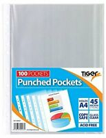 100 PUNCHED POCKETS - A4 Strong Transparent Poly Glass Clear - Sleeves {Tiger}