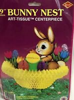"""Vintage Beistle Easter Bunny Nest Centerpiece PINK Sealed Package 1973 9"""""""