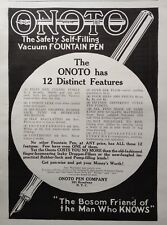 1909 AD(G19)~ONOTO PEN CO. BROADWAY, NYC. SELF-FILLING FOUNTAIN PEN
