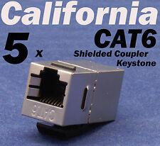 5 X pcs Lot CAT6 Shielded Inline RJ45 Keystone Wall Coupler Jack Adapter 8P8C E
