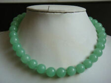 "Natural 14MM Light Green Round Jade Beads Gemstone Necklace 18"" AAA"