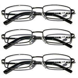 3 Pairs Slim Metal Rectangular Reading Glasses Spring Hinge High Power Reader