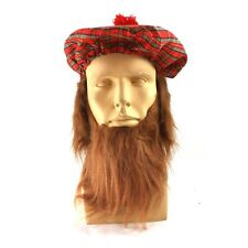 Scottish Costume Accessory Kit Hat With Hair Matching Red Beard Bastard Fat 2PC