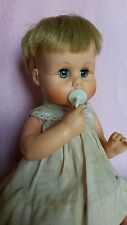 "1960's tiny tears 12"" doll American Character drink and wet wit original binkie"