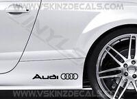 2x Audi Logo Premium Cast Skirt Decals Stickers Quattro TT RS S3 S4 S-line TFSI