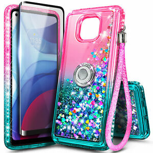 For Motorola Moto G Power (2021) Case Liquid Glitter Cover With Tempered Glass