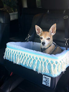 Small Black Dog Car Booster Seat (MInty Tassles) Dogs Out Doing