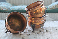 Coppercraft Guild Steel Footed Cauldron Planter Pots with Wrought Iron Handles -
