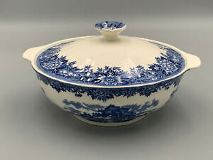 Salem China Co English Village Vintage Blue & White Lidded Vegetable Tureen (B).