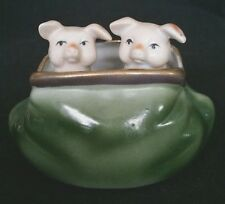 Pink Pigs in a Carpet Bag Bisque Vintage Hand Painted Figurine German   D2