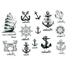 Cool Body Art Temporary Unisex Tattoo Removable Anchor Stickers Waterproof Decal