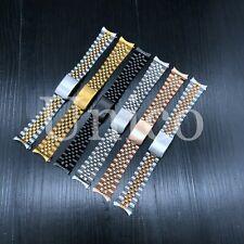 13 17 19 20 21 MM Steel Watch Band Strap Clasp Bracelet Curved Fit Rolex Jubilee