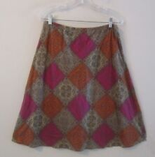 J Jill Fully Lined Cotton Skirt, Batik in Taupe Magenta Coral, Sz M Petite