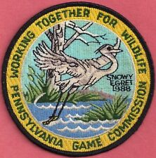 "Pa Pennsylvania Game Commission NEW 4"" 1988 WTFW Black Eyed Egret Bird Patch"