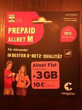 Congstar Allnet M 10 ? Guthaben 3 GB Flat Handy Prepaid SIM Karte t-mobile D1