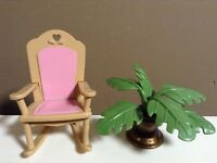 LOVING FAMILY ROCKING CHAIR PLANT LOT DOLLHOUSE NURSERY FURNITURE FISHER PRICE B