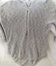 Women's Half Zip Pullover ABS Sweater Size Medium Gray Cable Knit Gold Zipper